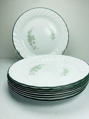 "Set of 4 ~ CORELLE CALLAWAY SALAD CAKE PLATES 7 1//4/"" GREEN RIM IVY SWIRL EXCELNT"