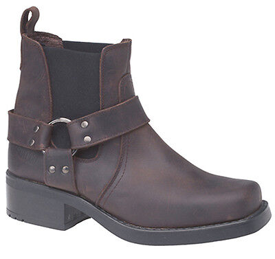 Mens New Black / Brown Harley Harness Leather Ankle Cowboy Biker Boots Size 6-12
