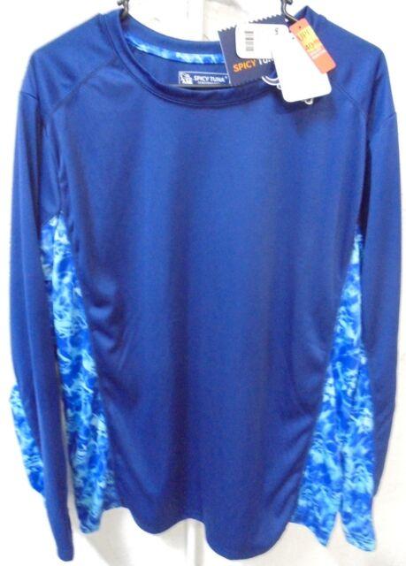 NWT Men's Long Sleeve Microfiber Fishing UV Protection Shirt Tuna Wave Navy M