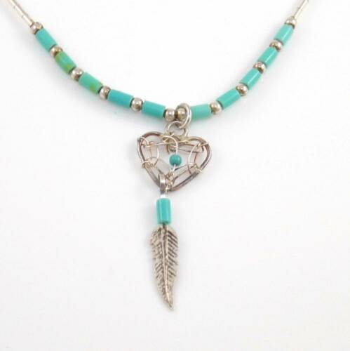 """Sterling Liquid Silver Turquoise Bead Heart Dreamcatcher Pendant Necklace 16.5"""""""