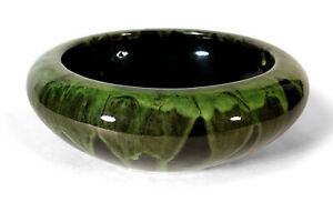 VINTAGE-PETERS-REED-ZANE-OHIO-ART-POTTERY-SHADOW-WARE-LOW-BOWL-BLACK-GREEN-DRIP