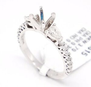 18k White Gold VS1,G 0.56tcw Three Stone Engagement Accent Semi Mount Ring 6.5
