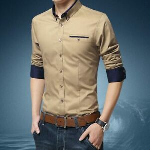 Stylish-Fashion-Business-Tops-Casual-Luxury-Slim-Fit-Long-Sleeve-Men-039-s-Shirt