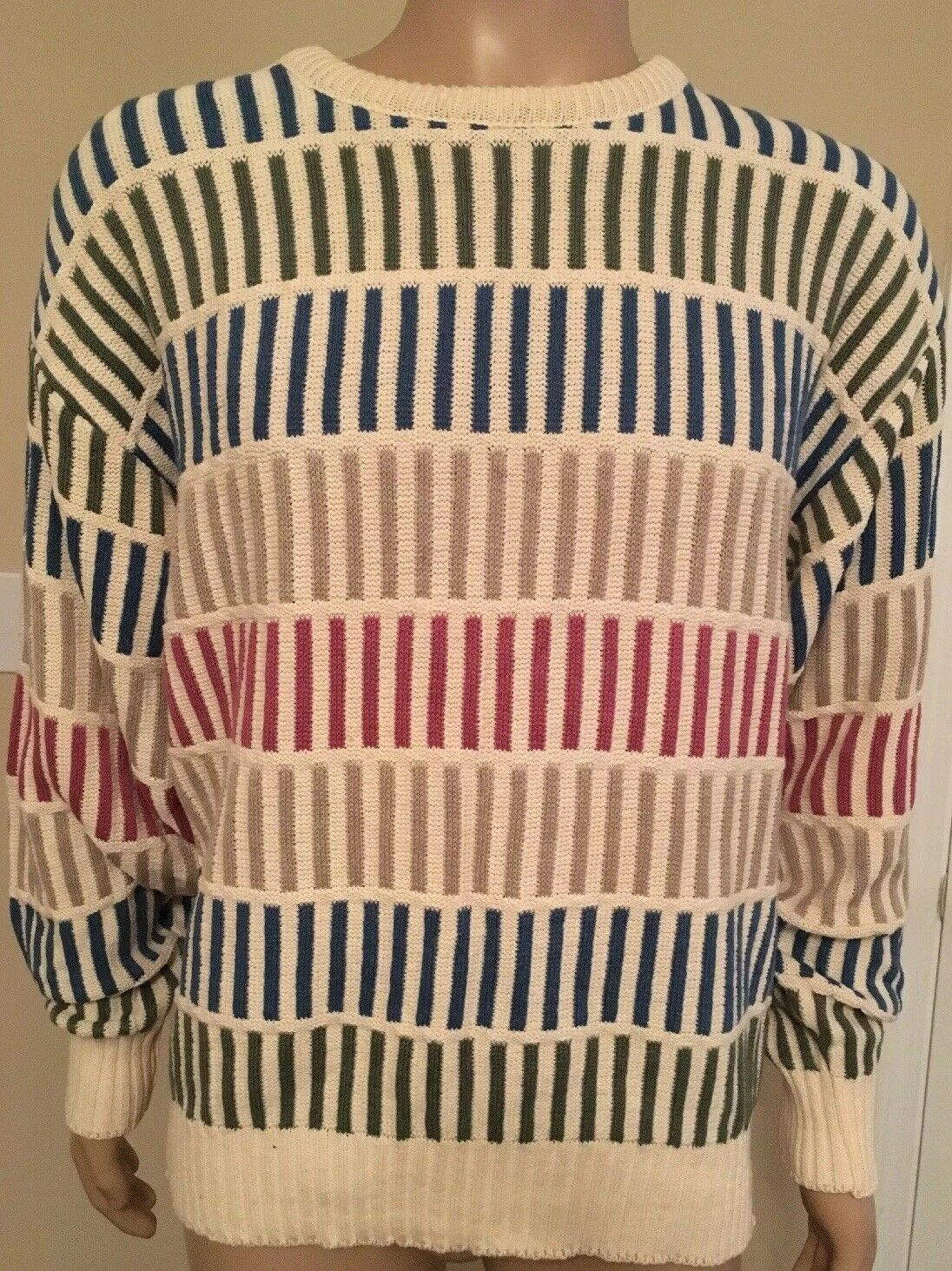 Vintage 80s Bold Sweater Jantzen Made In USA Geometric Stripes WIld M