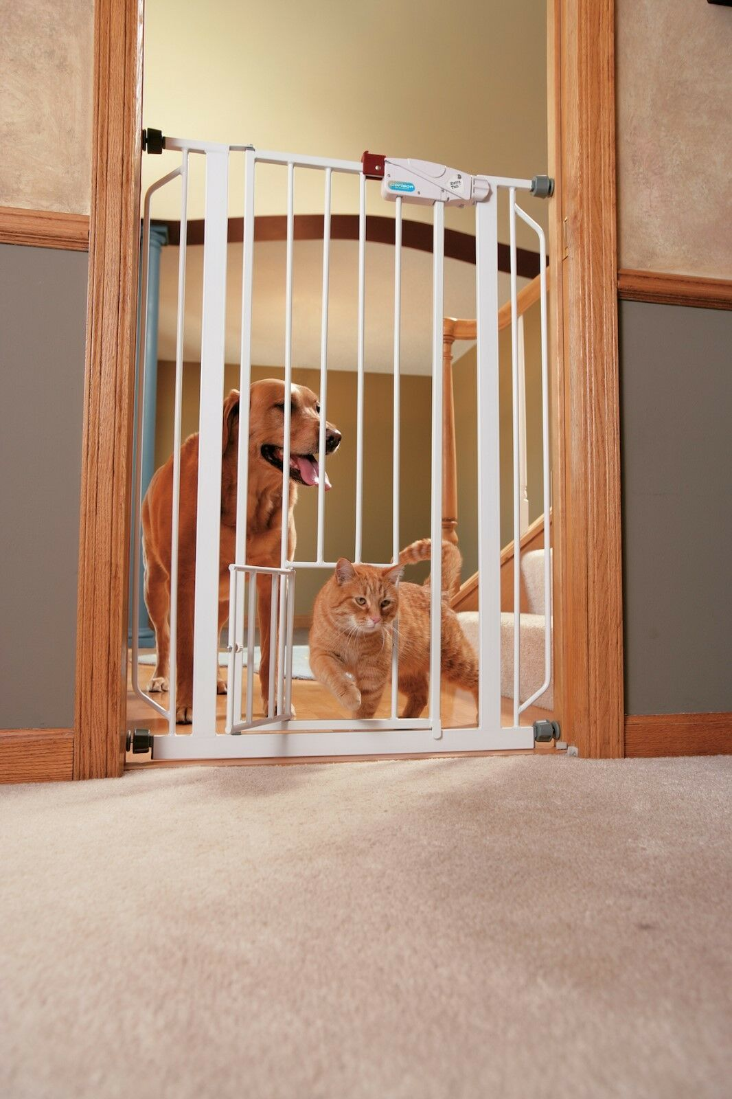 NEW Expandable Steel Pet bianca Door Gate Extra Tall Doorway Dog Gates Walk-Thru