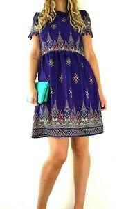 Ruby-Rocks-Dress-Skater-Smock-Pompoms-Purple-Boho-Hippie-Ethnic-Size-Medium