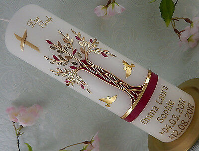 Taufkerze Kommunionkerze Lebensbaum rot gold für Mädchen mit Name und Datum NEU
