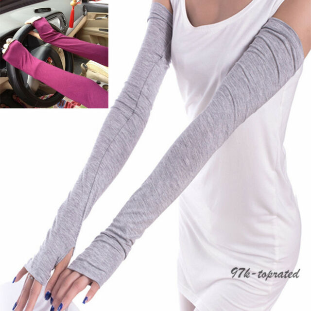 Women Men Sports Arm Sleeves  Cotton Gloves for UV Sun Protection Driving Cover