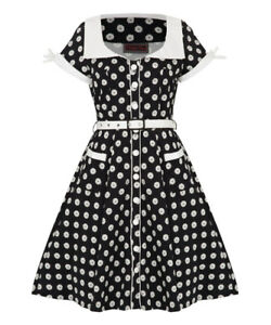 Women-039-s-Floral-Button-Up-Polkadot-50-039-s-Vintage-Rockabilly-Flared-Swing-Dress