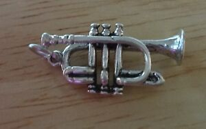 Sterling Silver 3D 23x13mm Trumpet Bugle Music Instrument Charm
