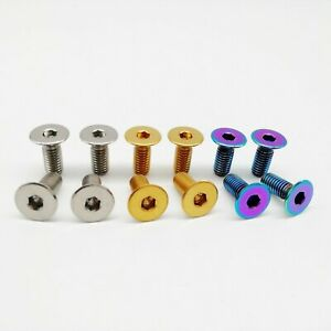 4PCS M6 Titanium Ti Alloy Flange Head Bolt Screw Nuts For Motorcycle BMX Bicycle