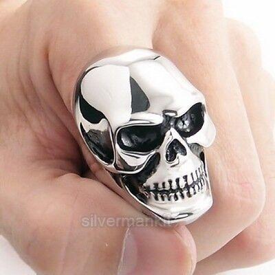 MENS Huge Heavy Skull 316L Stainless Steel Biker Ring US Size 9,10,11,12,13