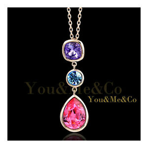 18K-Rose-Gold-EP-Brilliant-amp-Radiant-Cut-Amethyst-Crystal-Pendant-Necklace