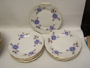 Favolina (Poland) FAV13 Blue Flowers Bread & Butter Plates Lot of 8 Exc Cond