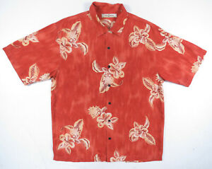 Tommy Bahama dunkel orange Hibiskus Floral Seide Schleife Kragen Hawaii Hemd Herren M