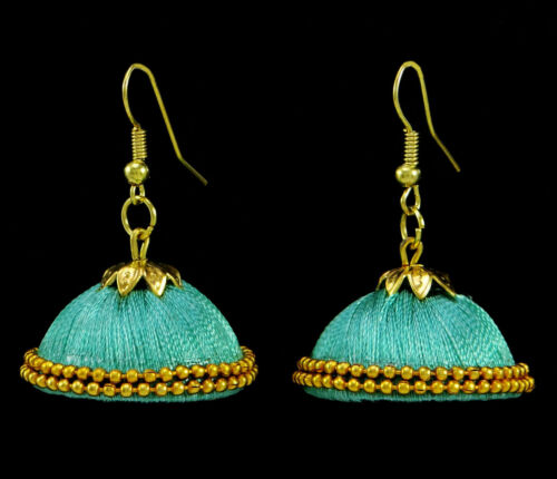 Indian Women Thread Wrapped Goldtone Earring Set Beautiful Jewelry HTE33A-PAR