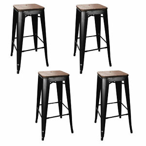 Cool Details About Amerihome 30 Inch Metal Stackable Bar Stool With Wood Top Black 4 Piece Set Theyellowbook Wood Chair Design Ideas Theyellowbookinfo