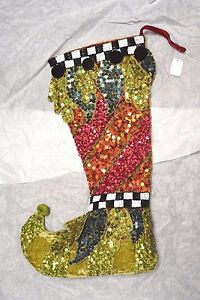 Katherine's Collection 14-36228 STOCKING Sequin Green Checkerboard Iridescent