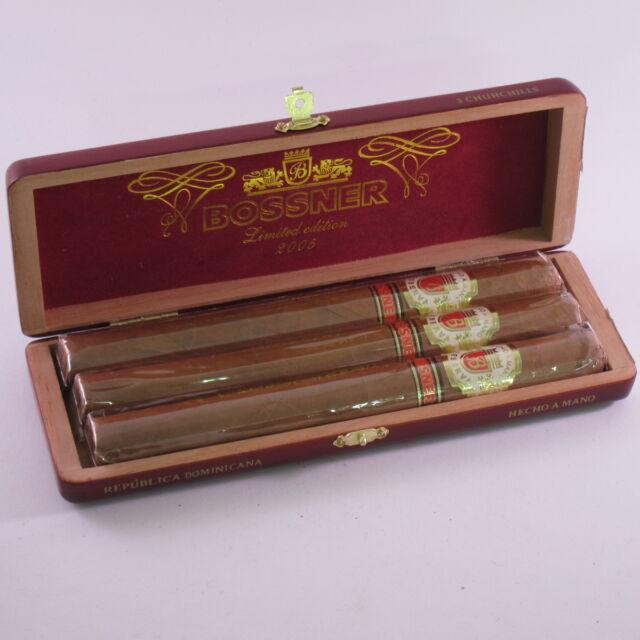 BOSSNER - Churchill - 3 Zigarren - CLASSIC - in edler Holzkiste - Dom. Rep.