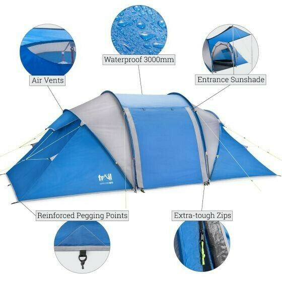 Trail 4 Man Family 2 room Tunnel Tent Waterproof 3000mm