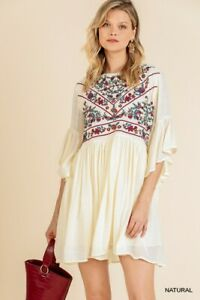 Umgee-Bohemian-Floral-Embroidered-Ruffled-Sleeve-Dress-Size-Small-Medium-Large