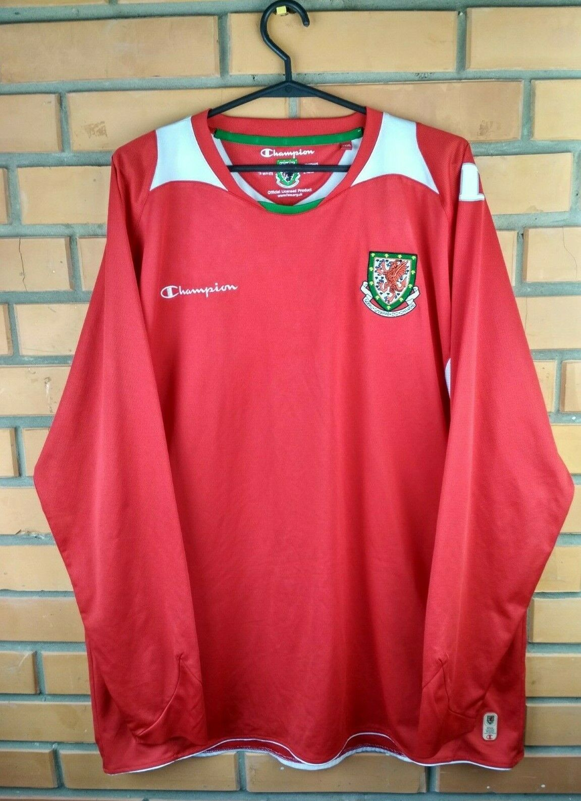 Wales soccer jersey 3XL 2008 2010 home shirt lungo sleeve footbtutti Champion