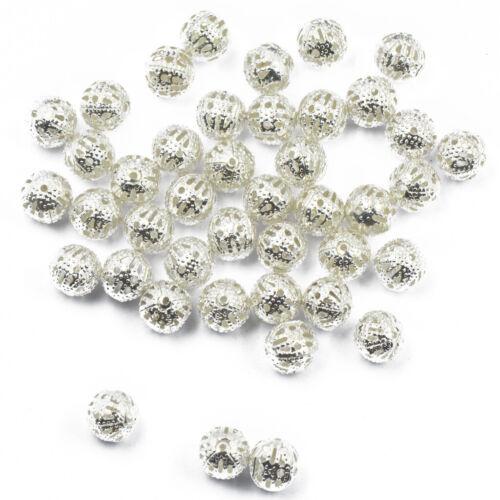100 Plaqué Argent ballon rond filigrane Spacer Beads Bracelets breloques Making 8 mm