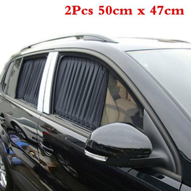 2Pcs Car Van SUV VIP Black Window Curtains Sunshade Visor 50x39cm Accessories