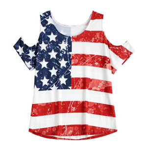 Women-Summer-Cold-Shoulder-Casual-Shirt-Blouse-Flag-Printed-Short-Sleeve-Tops