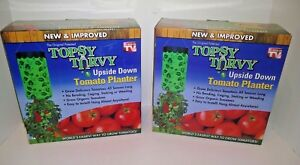 LOT-OF-2-Topsy-Turvy-New-amp-Improved-Upside-Down-Tomato-Planter-As-Seen-On-TV-NEW