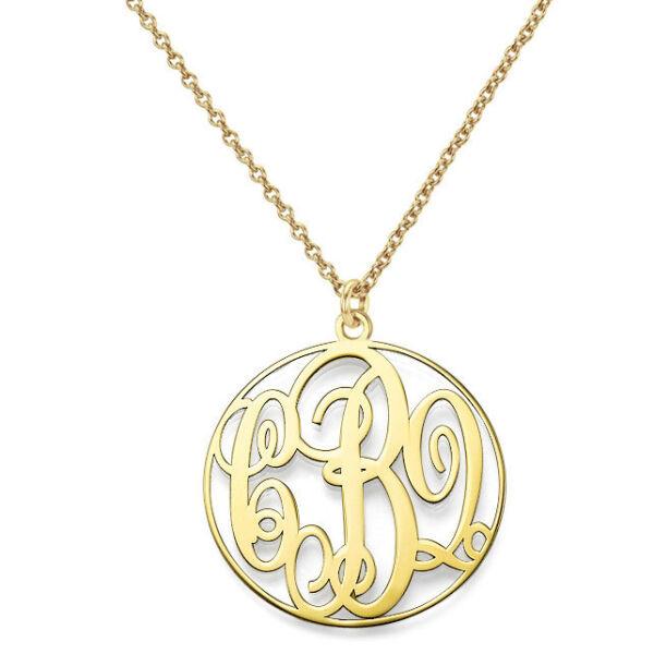 1 Zoll Auf Bestellung Angefertig 3 Initialen Monogramm Halskette In Silber Kunden Zuerst