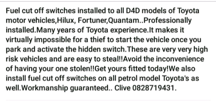 ANTI THEFT CUT OUT SWITCH