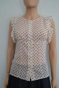 71a656b3bf61e NWT Prada Ivory Red Polka Dot Silk Blend Shirt Top Blouse Sz 38