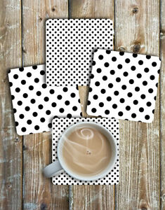Black and White Polka Dot Drink Coasters Set of 4 Non Slip Neoprene