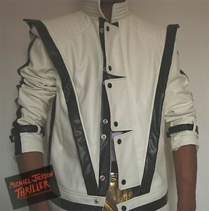 New-Michael-Jackson-Thriller-Leather-White-jacket-Free-Billie-Jean-Glove