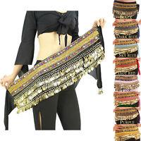 Belly Dance Costume Gold Coins Hip Skirt Scarf Wrap Belt Hip Scarf Skirt Velvet
