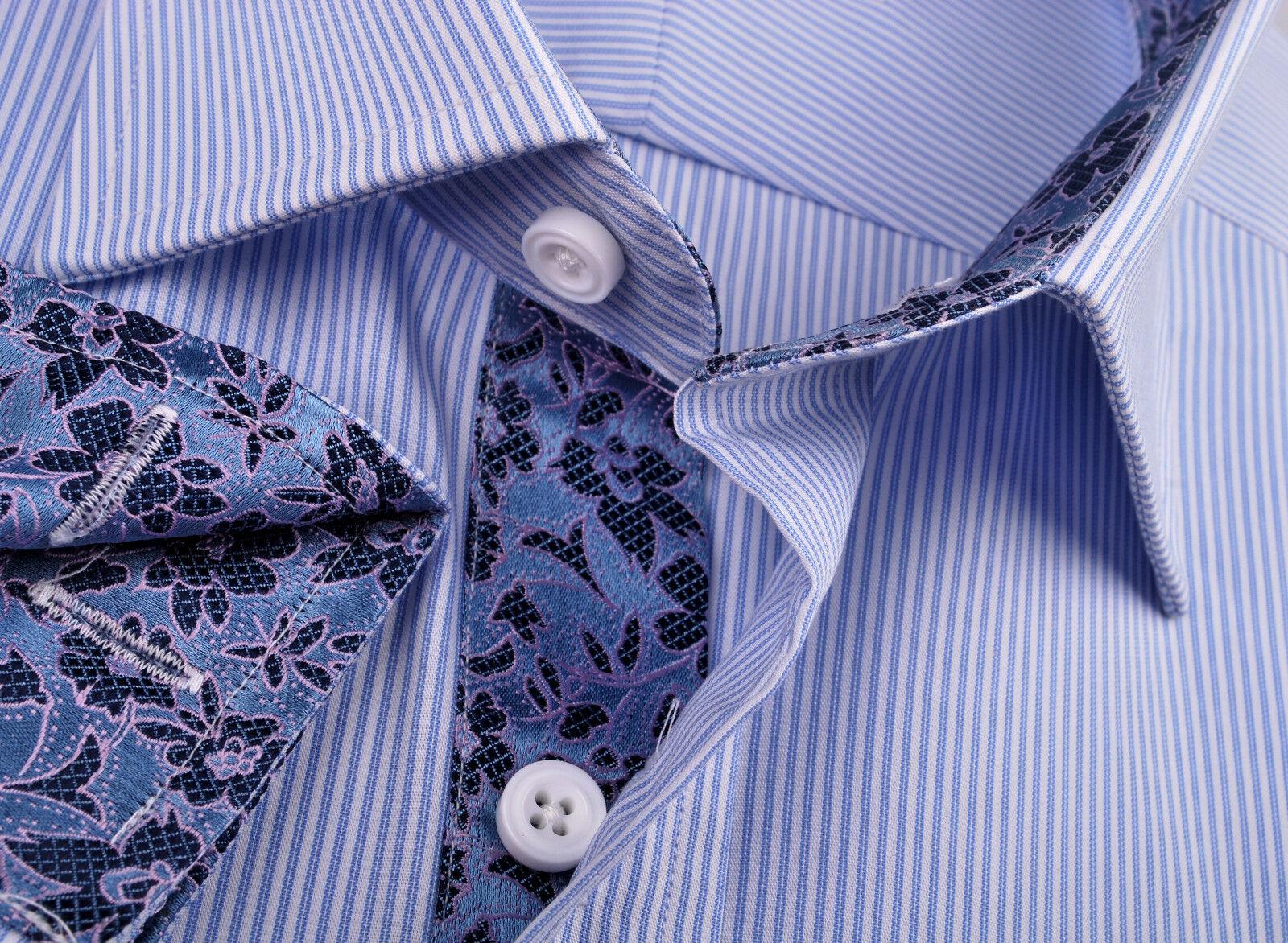 Herren Blau Formal Geschäft Dress Shirt Striped Egyptian Cotton Sexy Hawaii Floral