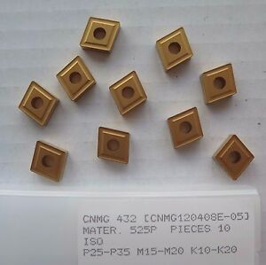 10-New-CNMG-432-Carbide-Inserts-Gold-Turning-Lathe-Made-by-PRAMET-A-SECO-Company
