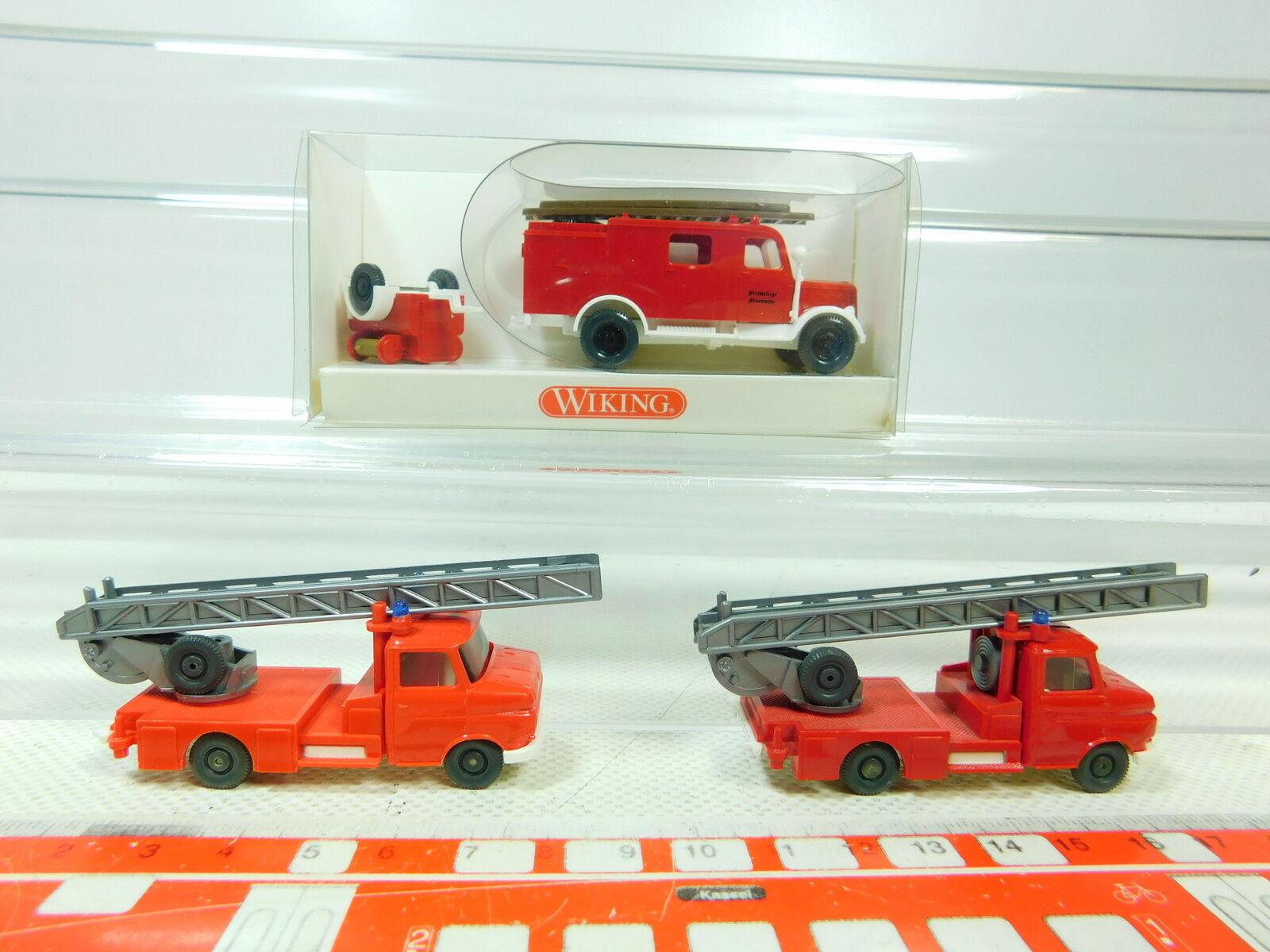 Bt358-0, 5  3x WIKING h0 1 87 LF 8 Drehleiter OPEL Pompiers FW, neuw 1x neuf dans sa boîte