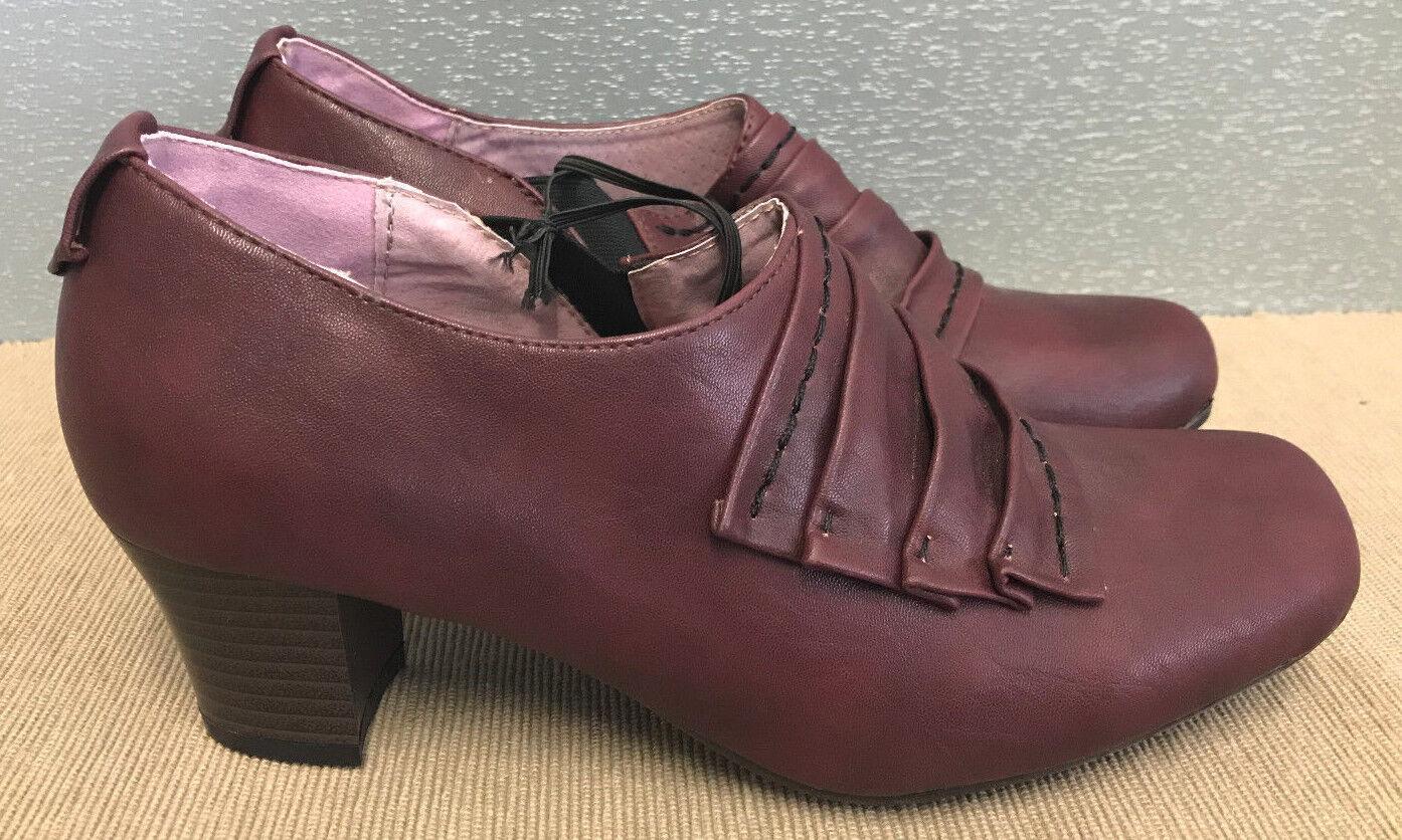 BNWT Ladies Sz 37 6 Med Rivers Riversoft Brand Burgundy Med 6 Heel Slip On Dress Shoes 5b2050