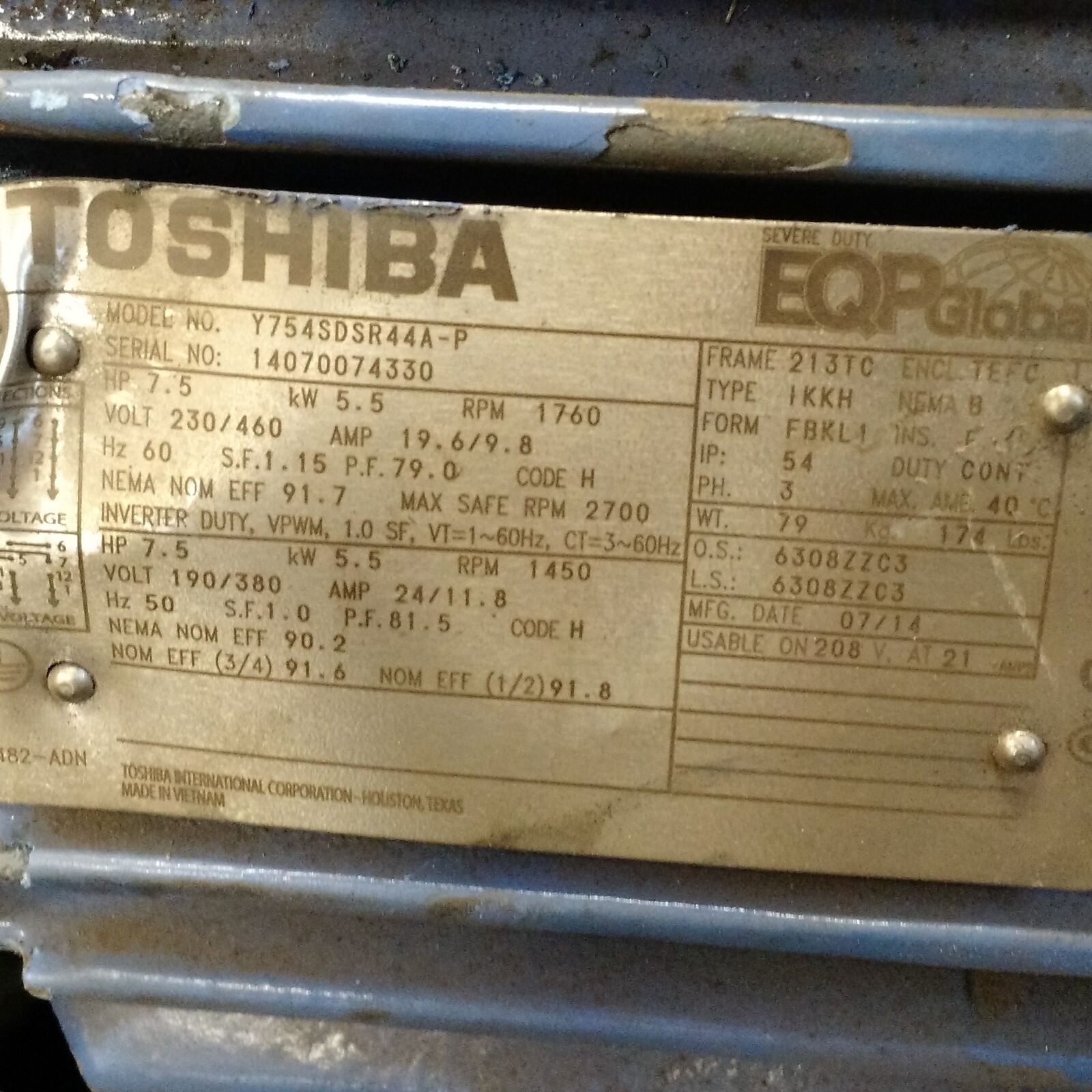 Toshiba Type IKKH Motor Y752XDSB42A-P 7.5HP 3500RPM 460V 9A 213TC Frame Used