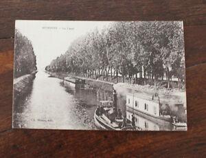 CPA-Auxonne-le-canal-peniches-bateau-vapeur-Bourgogne-Mr-Gueritte-Fraisans