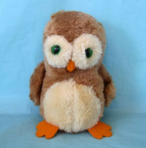 Vintage Stuffed Plush Animal Owl Beanbag Plush with Green Eyes