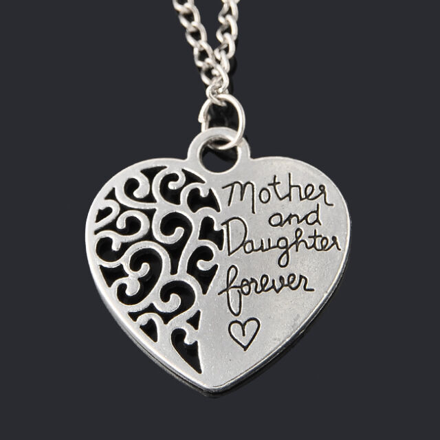 Vintage Mother's Day Forever Lover Retro Hollow Love Heart Pendant Necklace Gift