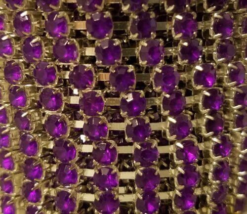 Purple Amethyst 4mm Single Rhinestone Silver Plated Chain Trim Ribbon Huge Spool