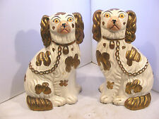 PAIR OF ANTIQUE STAFFORDSHIRE DOGS PAINTED EYES