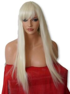 Womens-Light-Blonde-Fashion-costume-LONG-sleek-Straight-real-Natural-Wig-N5