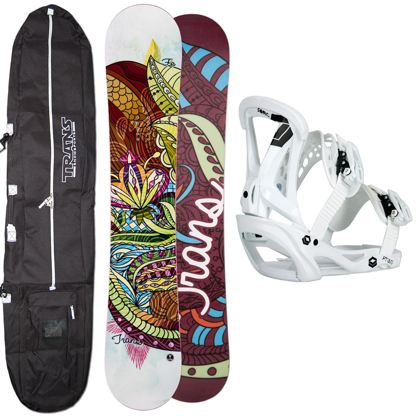 Snowboard Mujer Set Fe Trans blanco 136cm 2019 + Ftwo Sonic Fijación M + Bag