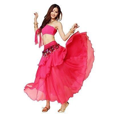 Chiffon Dancing Costume Belly Dance Spiral Long 3 Layers Skirt Top Belt 8 Colors