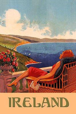 Fashion Lady Girl Ireland Irish Beaches Sailboat Vintage Poster Repro FREE S/H